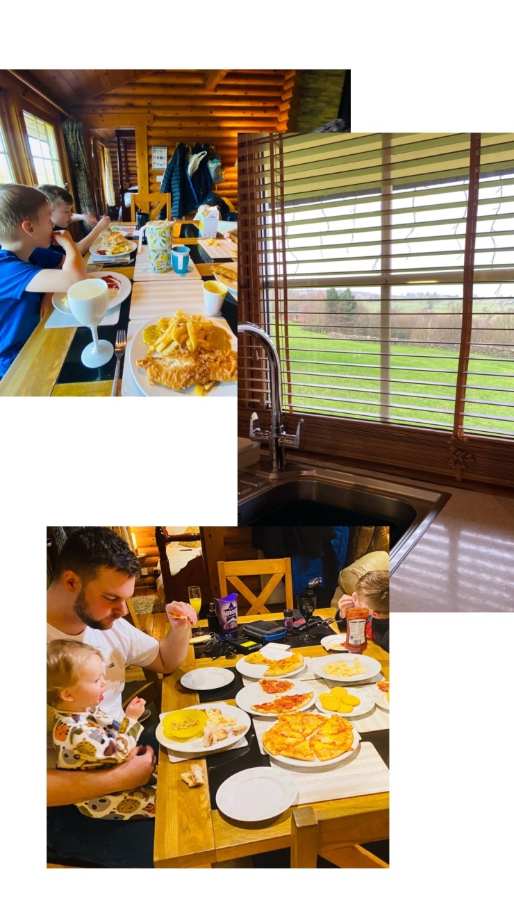 Eating as a family in log cabin